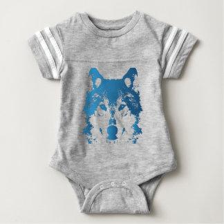 Illustration Ice Blue Wolf Baby Bodysuit
