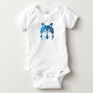 Illustration Ice Blue Wolf Baby Onesie