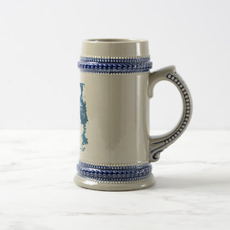 Illustration Ice Blue Wolf Beer Stein