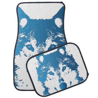 Illustration Ice Blue Wolf Car Mat