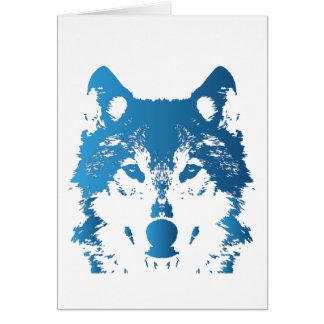 Illustration Ice Blue Wolf Card