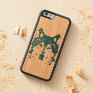 Illustration Ice Blue Wolf Carved Cherry iPhone 6 Bumper Case