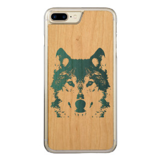 Illustration Ice Blue Wolf Carved iPhone 8 Plus/7 Plus Case
