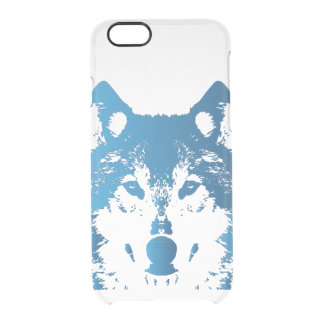 Illustration Ice Blue Wolf Clear iPhone 6/6S Case