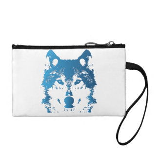 Illustration Ice Blue Wolf Coin Purse