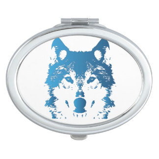 Illustration Ice Blue Wolf Compact Mirrors