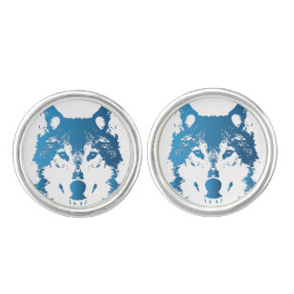 Illustration Ice Blue Wolf Cufflinks