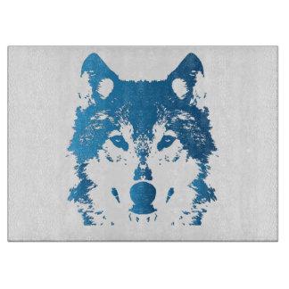 Illustration Ice Blue Wolf Cutting Board
