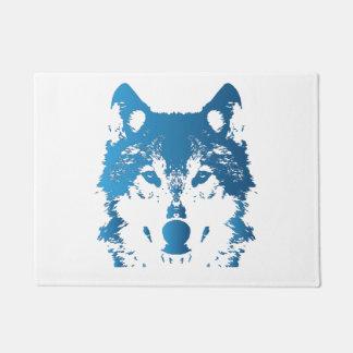 Illustration Ice Blue Wolf Doormat