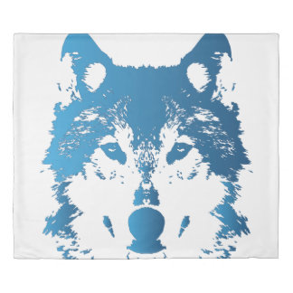 Illustration Ice Blue Wolf Duvet Cover