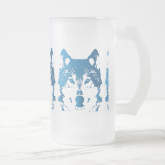 Illustration Ice Blue Wolf Frosted Glass Beer Mug