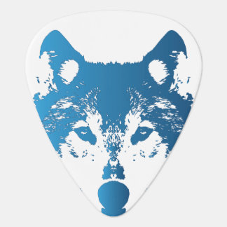 Illustration Ice Blue Wolf Guitar Pick