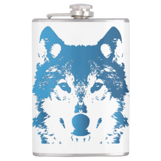 Illustration Ice Blue Wolf Hip Flask