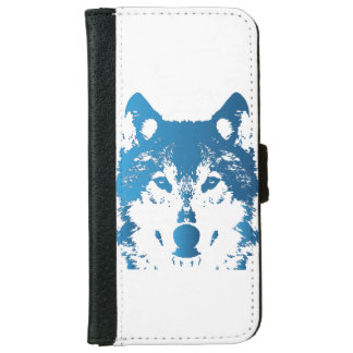 Illustration Ice Blue Wolf iPhone 6 Wallet Case