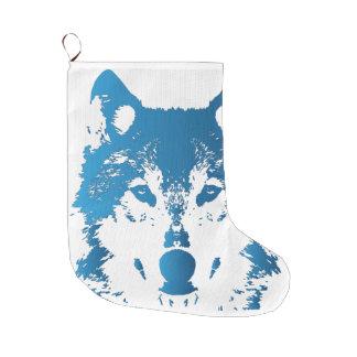 Illustration Ice Blue Wolf Large Christmas Stocking