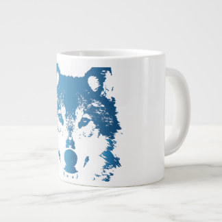 Illustration Ice Blue Wolf Large Coffee Mug