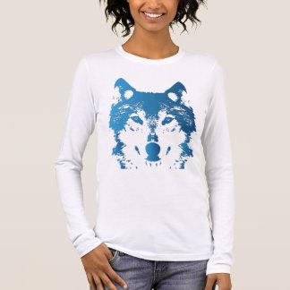 Illustration Ice Blue Wolf Long Sleeve T-Shirt