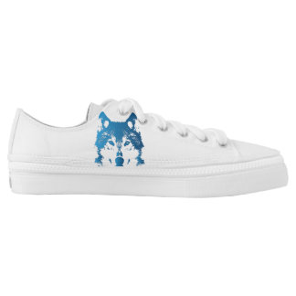 Illustration Ice Blue Wolf Low-Top Sneakers