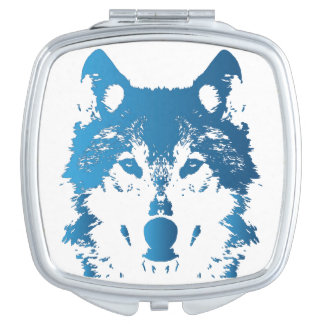 Illustration Ice Blue Wolf Mirrors For Makeup