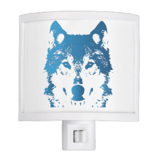 Illustration Ice Blue Wolf Night Lights