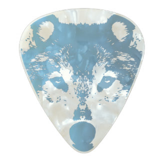 Illustration Ice Blue Wolf Pearl Celluloid Guitar Pick