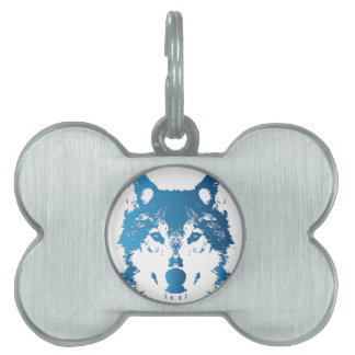 Illustration Ice Blue Wolf Pet Tag