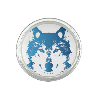 Illustration Ice Blue Wolf Photo Rings