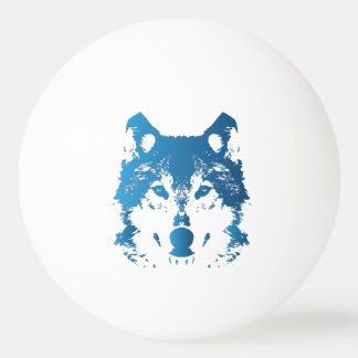 Illustration Ice Blue Wolf Ping Pong Ball