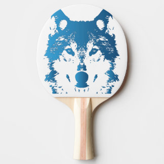 Illustration Ice Blue Wolf Ping Pong Paddle
