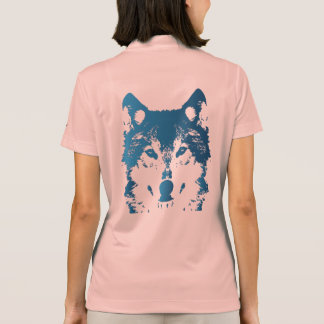 Illustration Ice Blue Wolf Polo Shirt