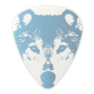 Illustration Ice Blue Wolf Polycarbonate Guitar Pick