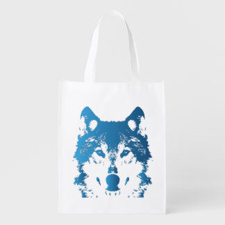 Illustration Ice Blue Wolf Reusable Grocery Bag
