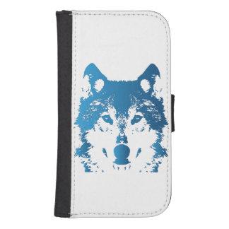 Illustration Ice Blue Wolf Samsung S4 Wallet Case