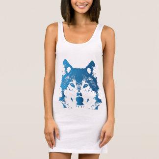 Illustration Ice Blue Wolf Sleeveless Dress