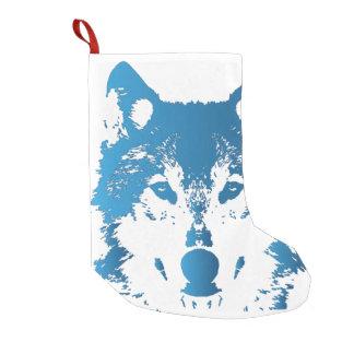 Illustration Ice Blue Wolf Small Christmas Stocking