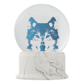 Illustration Ice Blue Wolf Snow Globe