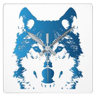 Illustration Ice Blue Wolf Square Wall Clock