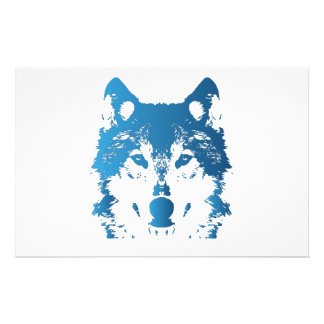 Illustration Ice Blue Wolf Stationery