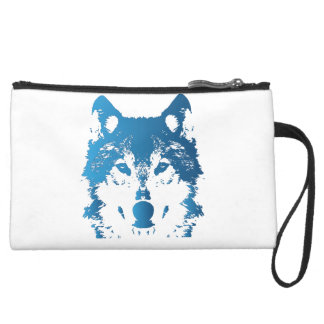 Illustration Ice Blue Wolf Suede Wristlet