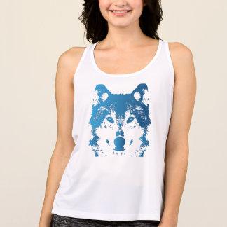 Illustration Ice Blue Wolf Tank Top