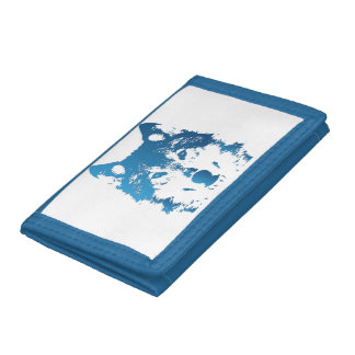 Illustration Ice Blue Wolf Tri-fold Wallet