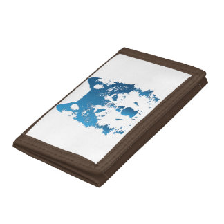 Illustration Ice Blue Wolf Trifold Wallet