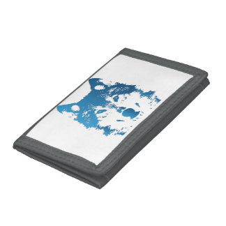 Illustration Ice Blue Wolf Trifold Wallets