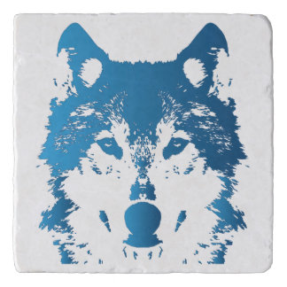 Illustration Ice Blue Wolf Trivet