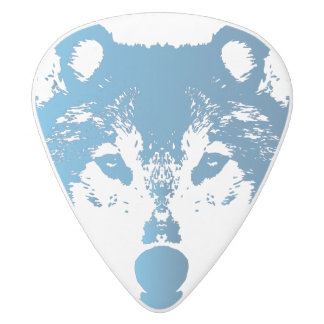 Illustration Ice Blue Wolf White Delrin Guitar Pick