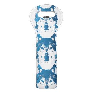 Illustration Ice Blue Wolf Wine Bag