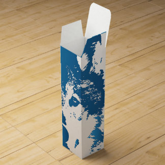 Illustration Ice Blue Wolf Wine Box