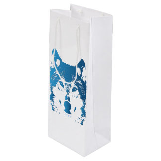 Illustration Ice Blue Wolf Wine Gift Bag