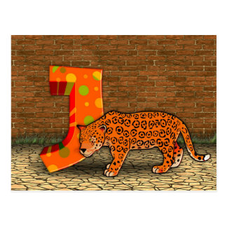 Illustration jaguar postcard