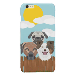 Illustration lucky dogs on a wooden fence